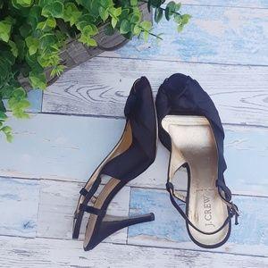 J Crew black satin strappy heels. Size 9 1/2
